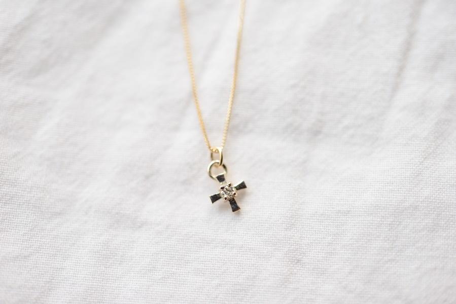 画像1: [10K]cross diamondネックレス (1)